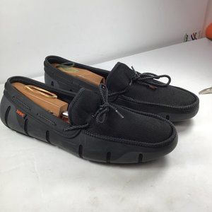 Swims Mesh & Rubber Braided-Lace Boat Shoes Black